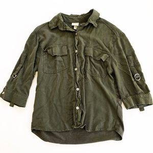 A New Day Button Down Shirt, 3/4 Sleeve XS